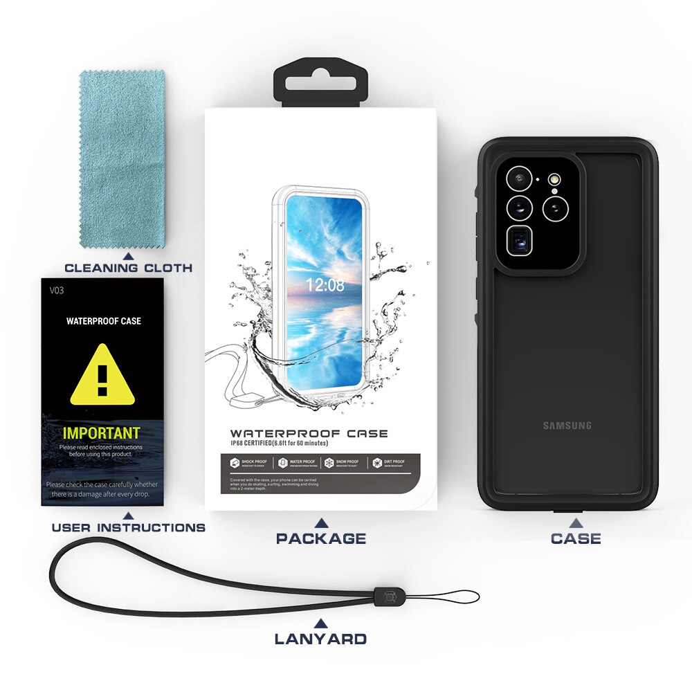Waterproof Case for Samsung Galaxy S20 Ultra S20 Plus