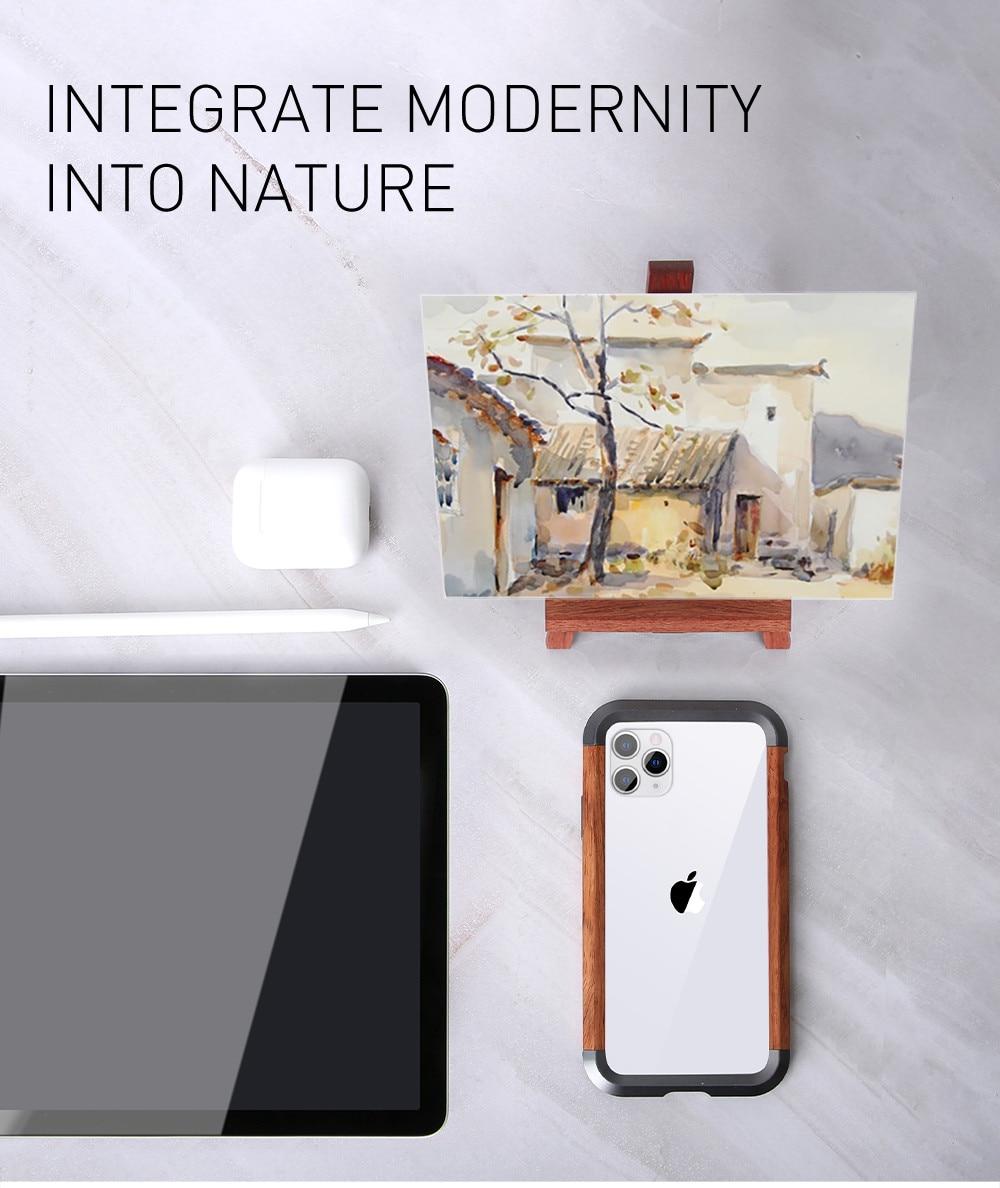 Hybrid Metal Wood Case iPhone 11 Pro Max X XR XS MAX