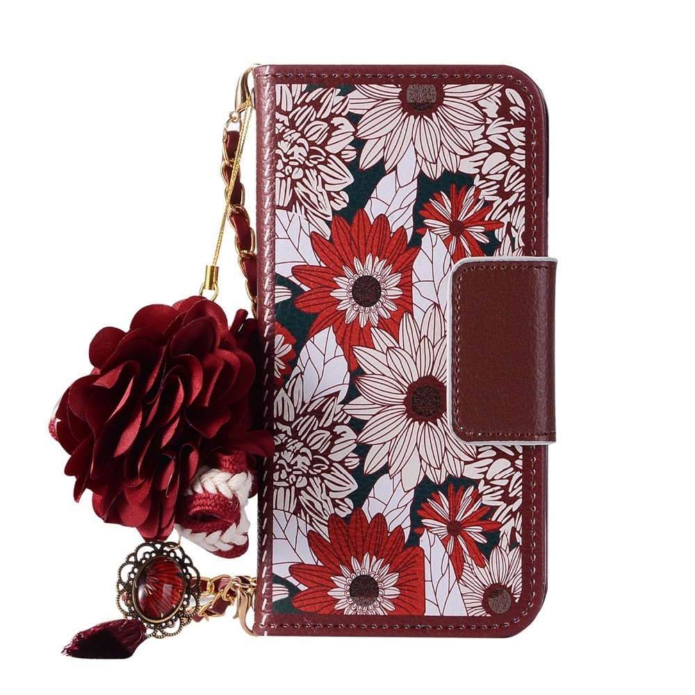 3D Flower Handbag Cover Leather Wallet with Chain Strap